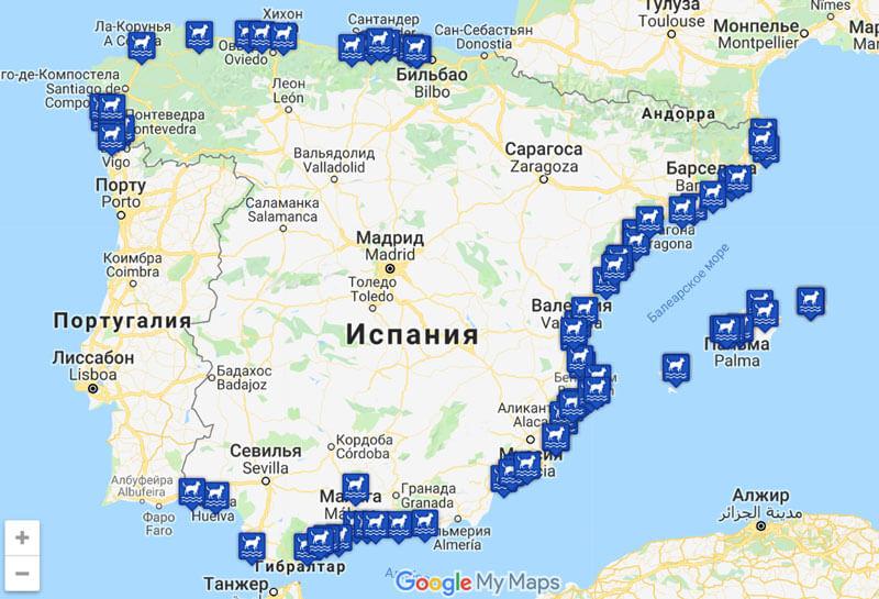 Карта пляжей Испании для собак