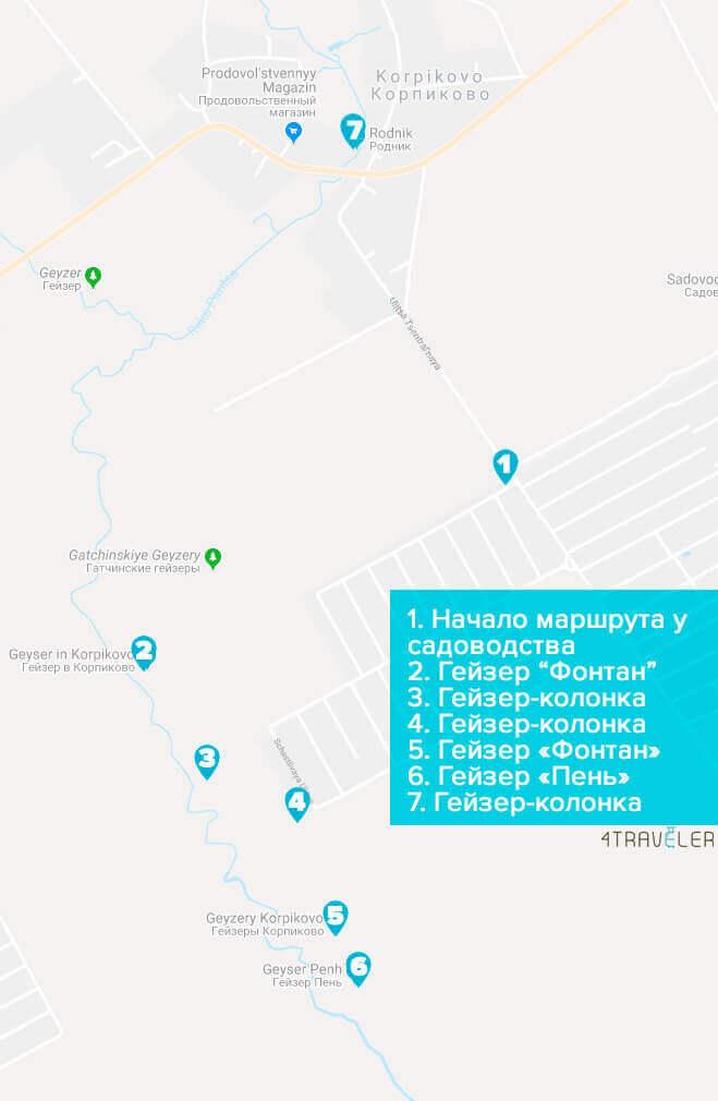 Карта расположения Гатчинских гейзеров