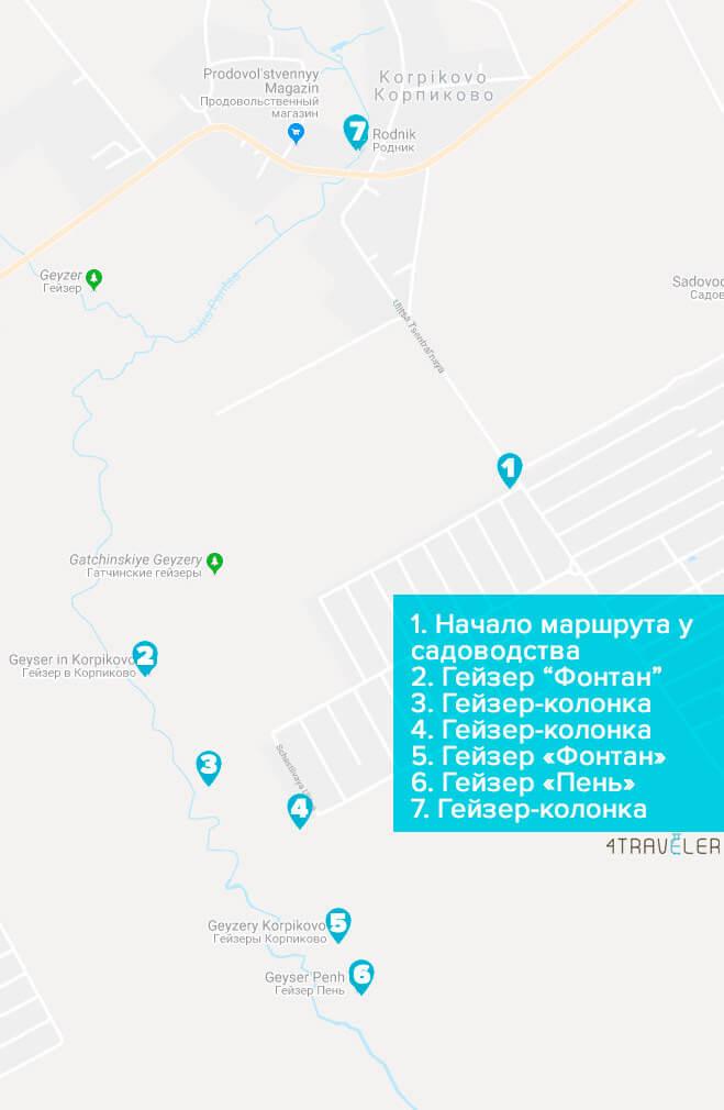 Карта расположения шести гатчинских гейзеров у Корпиково