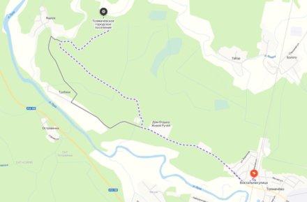 Карта Как добраться до Белых Ящерских скал от Толмачево в Ленинградской области