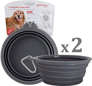 Миска для собак Silicone Food & Water Travel Bowl with Clip by Prima Pets