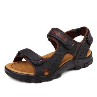 Летние мужские кожаные сандалии с нескользящей подошвой